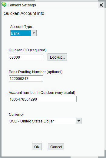 Set Quicken Account Info