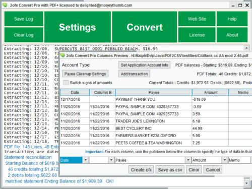 2OFX Convert Pro Screenshot