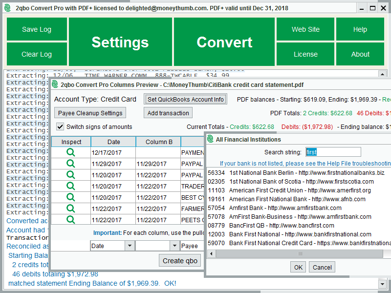 2qbo Convert Pro Screen shot