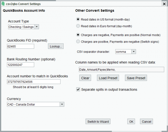 csv2qbo Convert Settings