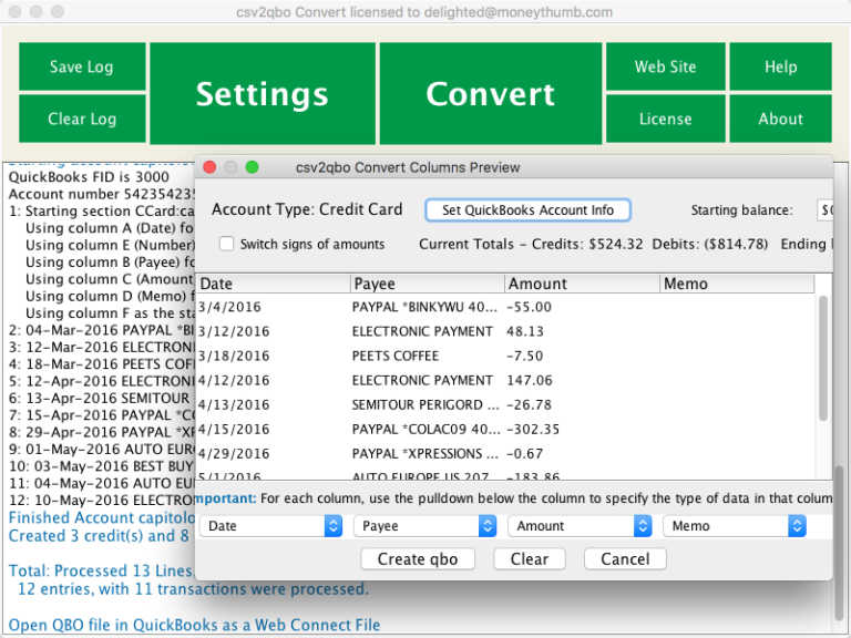 csv2qbo Convert Screenshot on Mac