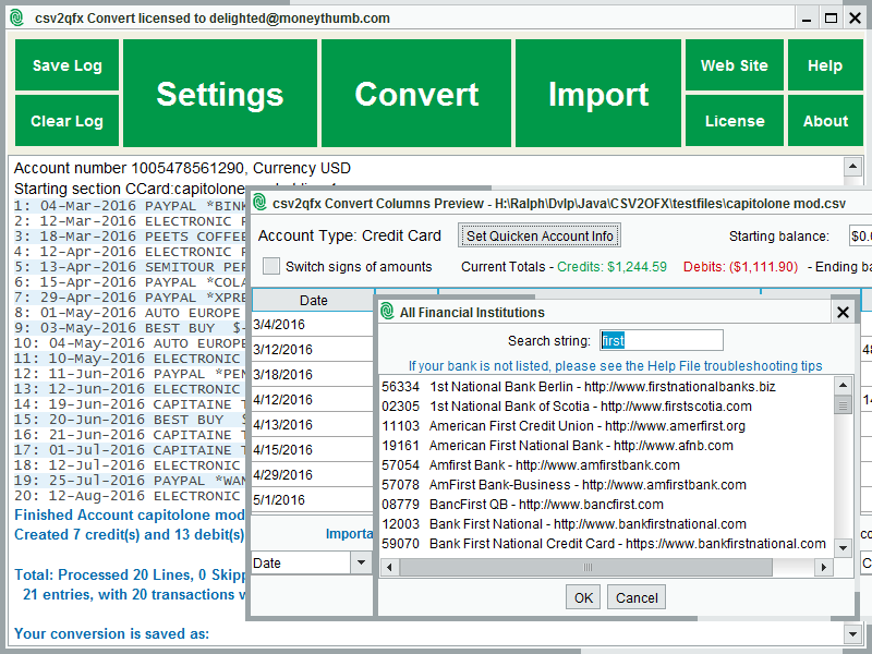 Click to view CSV2QFX Convert screenshots