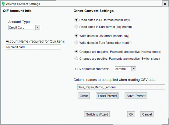 csv2qif Convert Settings