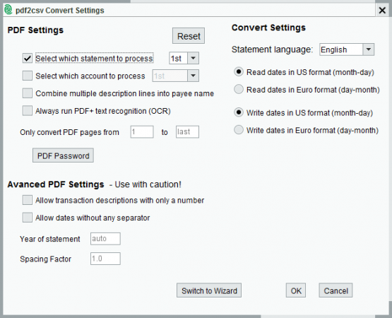 pdf2csv Convert Settings