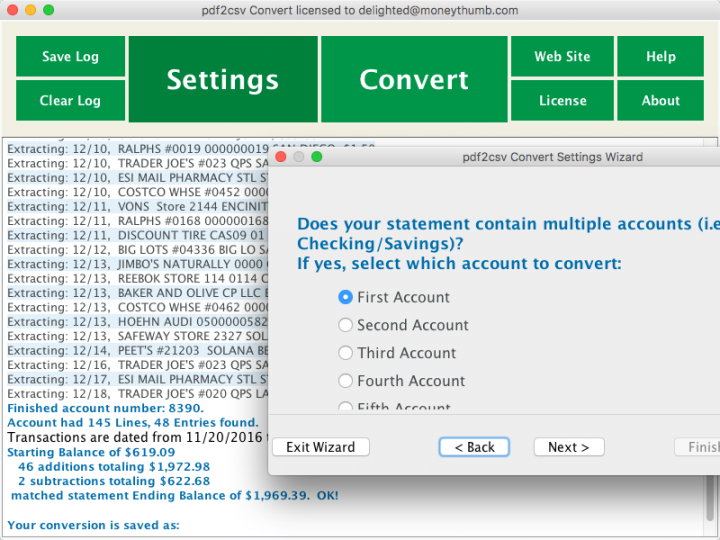 pdf2csv Convert Screenshot on Mac