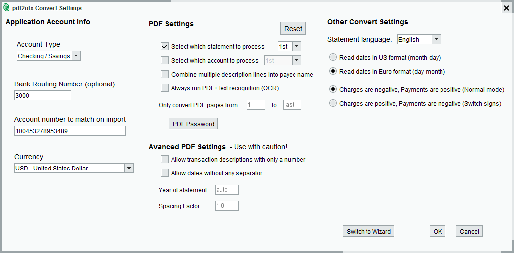 pdf2ofx Convert Settings