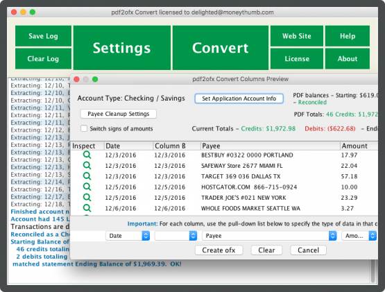 pdf2ofx Convert Screenshot on Mac