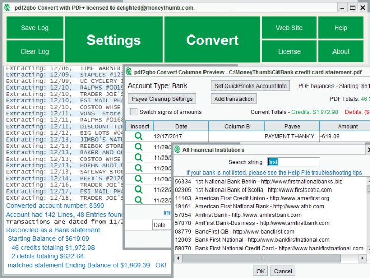 pdf2qbo Convert Screenshot