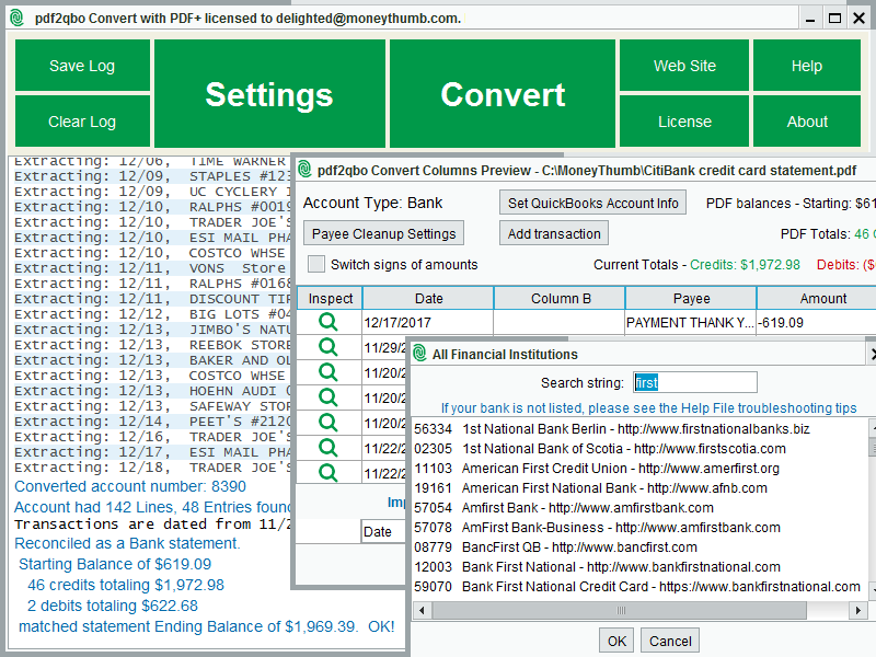 PDF2QBO Convert Screen shot