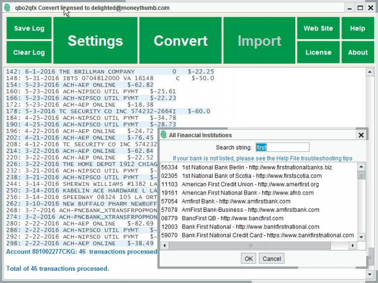 qbo2qfx Convert Screenshot