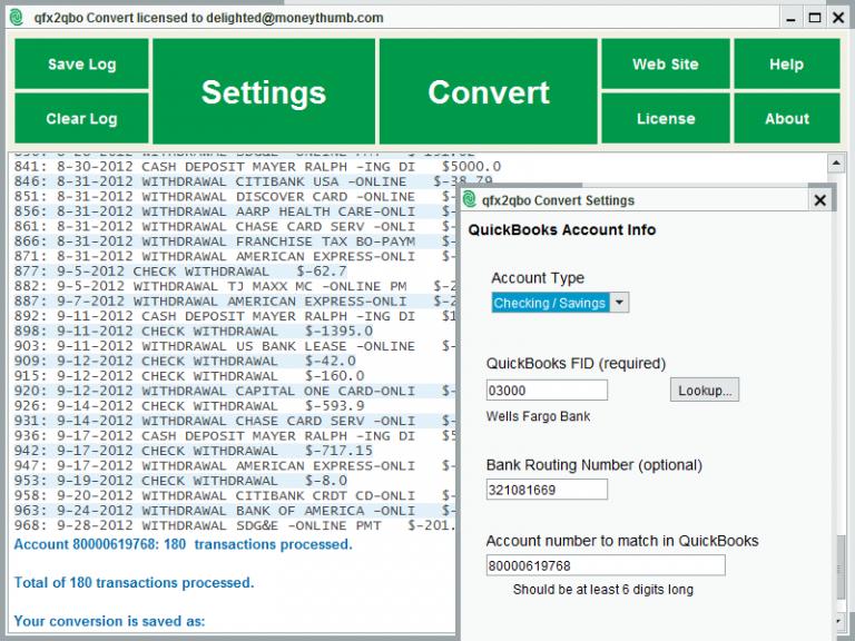 qfx2qbo Convert Screenshot