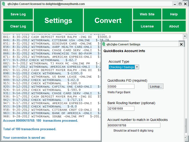 Click to view QFX2QBO Convert screenshots