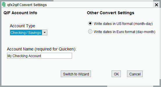 qfx2qif Convert Settings