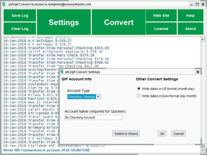 qfx2qif Convert Screenshot