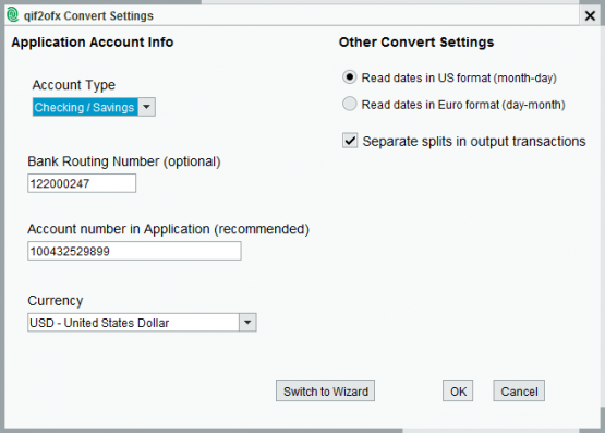 qif2ofx Convert Settings