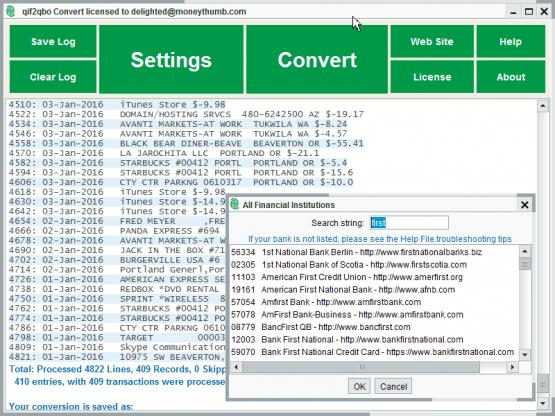 qif2qbo Convert Screenshot