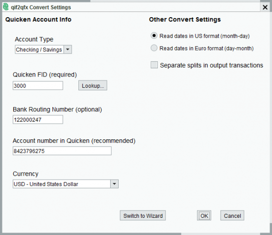 qif2qfx Convert Settings
