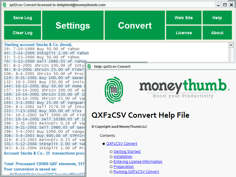 QXF2CSV Convert Screen shot