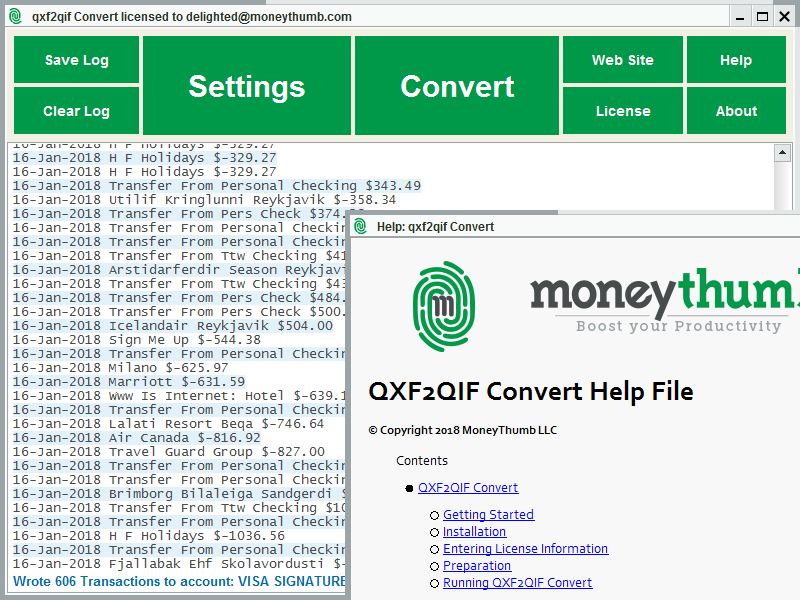 Click to view QXF2QIF Convert screenshots