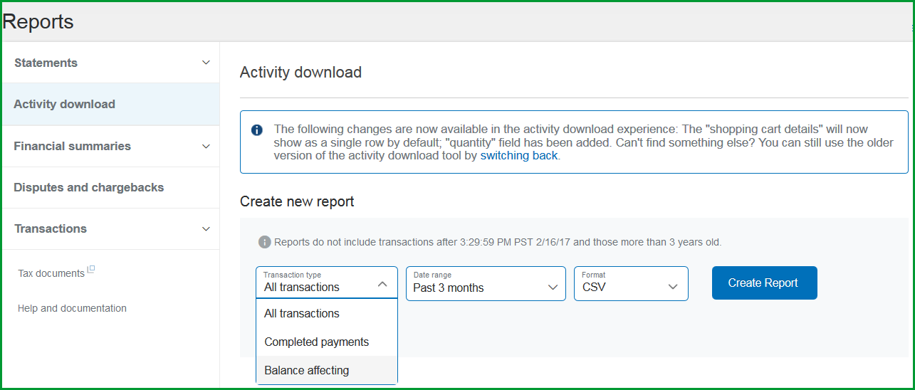 Download Payment CSV File