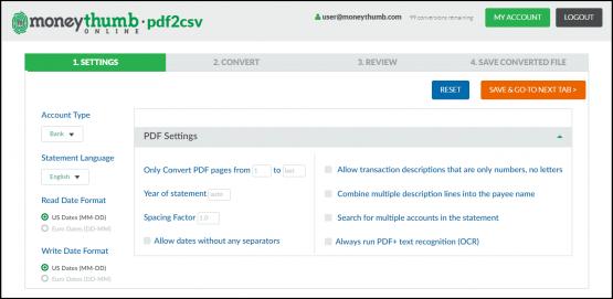 pdf2csv online settings