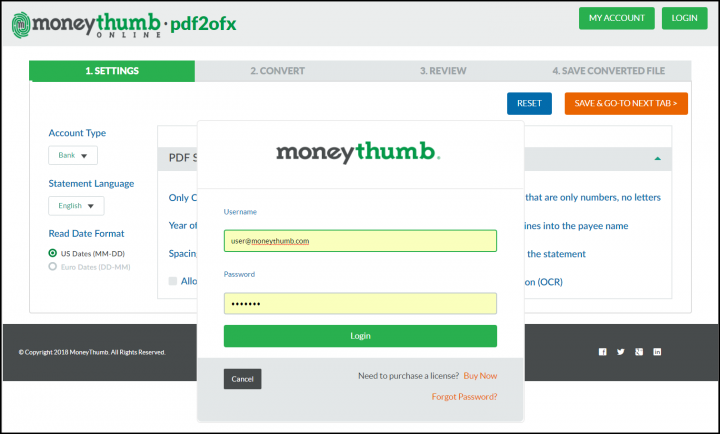 pdf2ofx online login