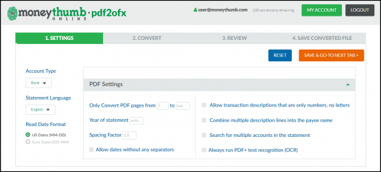 pdf2ofx online settings