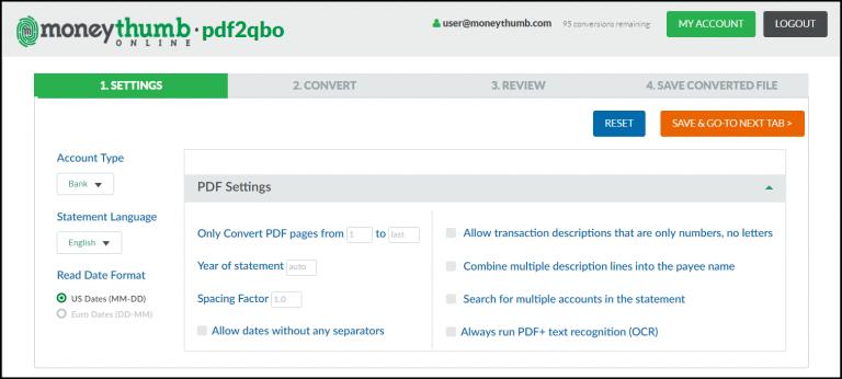 pdf2qbo Online Settings