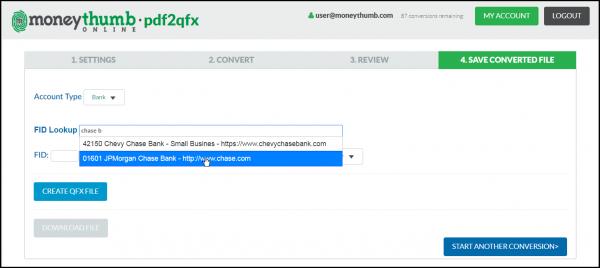 pdf2qfx Online Bank Lookup
