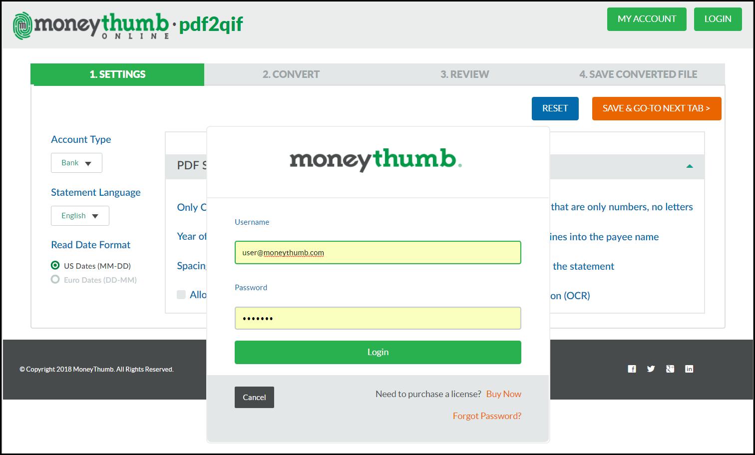 MoneyThumb Online • pdf2qif - MoneyThumb
